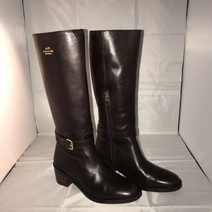 Coach Clover Brown Leather Riding Boots